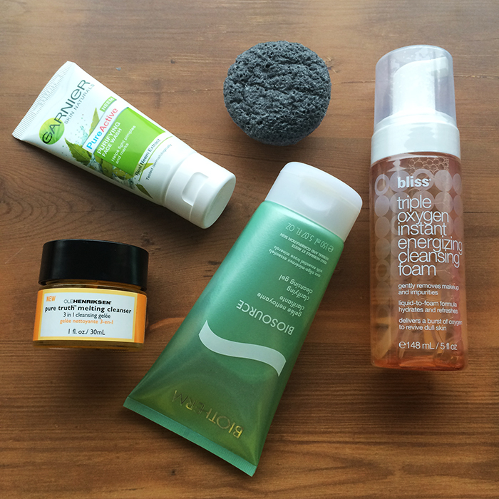 Clockwise From The Left:    1) Ole Henriksen Pure Truth Melting Cleanser, 2) Garnier Pure Active Neem Face Wash, 3) Boscia Konjac Cleansing Sponge With Bamboo Charcoal, 4) Bliss Triple Oxygen Instant Energizing Cleansing Foam, and 5) Biotherm Clarifying Cleansing Gel