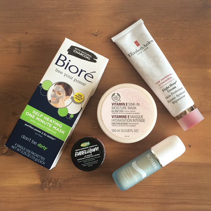 From Left To Right:    1) Biore Self Heating One Minute Mask, 2) Lush Bubble Gum Lip Scrub, 3) The Body Shop Vitamin E Sink-In Moisture Mask, 4) Biotherm Hydra-Detox Yeux Moisturizing Eye Gel, and 5) Elizabeth Arden Eight Hour Cream
