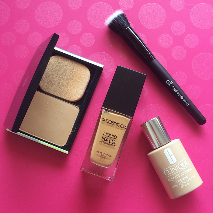 From Left To Right:    1) Chambor Brightening & Smoothening Foundation, 2) Smashbox Liquid Halo HD Foundation, 3) Clinique Superfit Foundation, and 4) e.l.f. Cosmetics Small Stipple Brush
