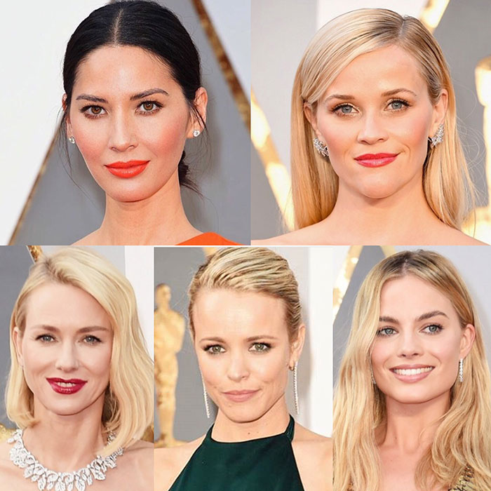 Oscars 2016 Best Of Beauty (From Left To Right):  Olivia Munn, Reese Witherspoon, Naomi Watts, Rachel McAdams, Margot Robbie