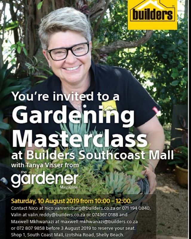 Join us as we have a fun filled day with the Builders team. @tanyavisserza will be having a Gardening Masterclass. What a great way to start off the season.  #masterclass #gardeningtips #gardeningmasterclass #deliveringgrowth #green #builders