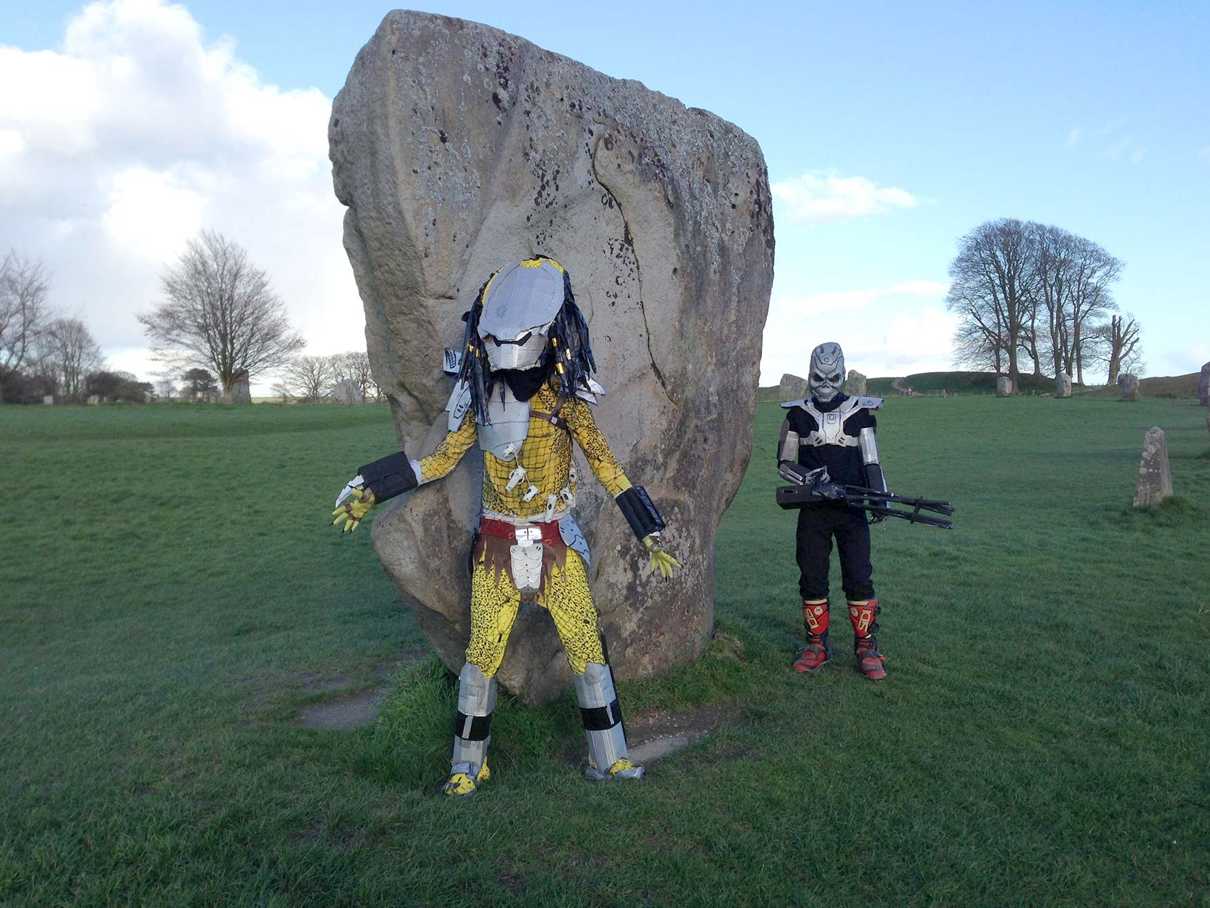 Two local college students at Avebury stone circles.
