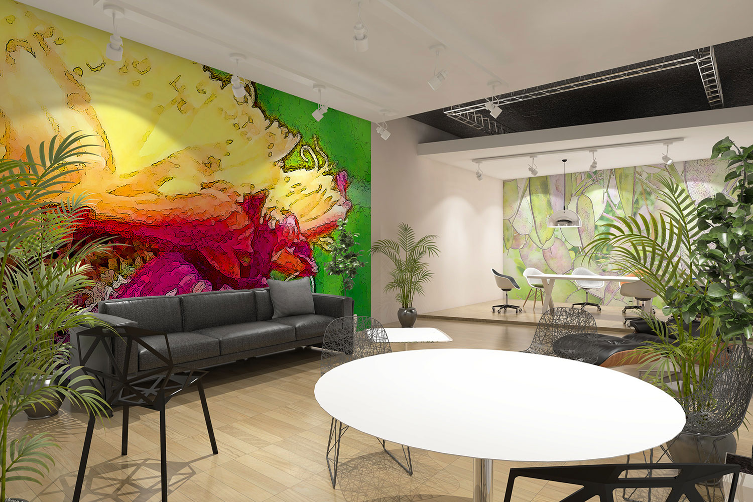 Open plan office space with mindfulness wall art mural for workplace wellbeing.jpg