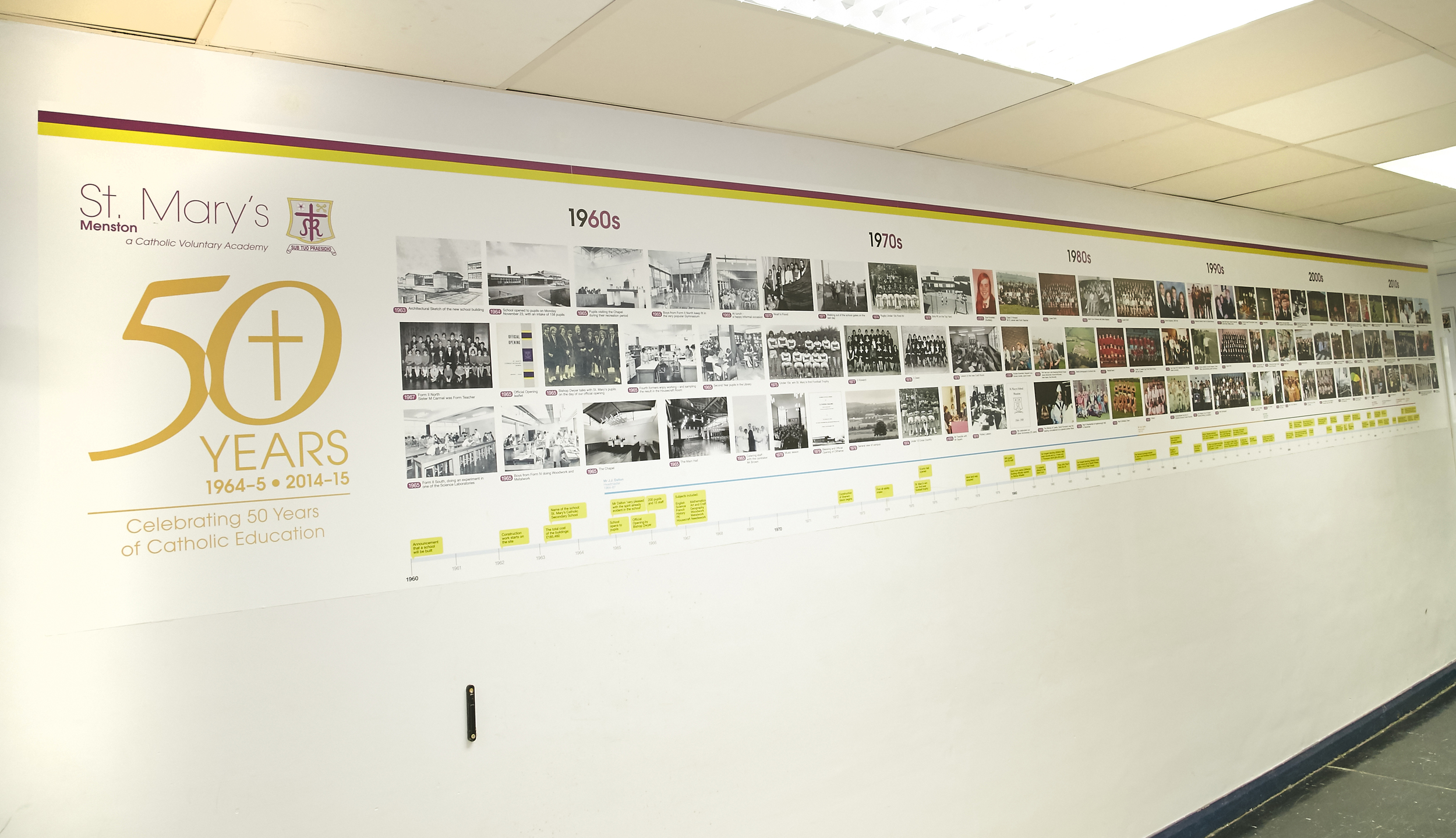 Display celebrating 50 years of St. Mary's Menston, outside the Main Hall (room M1)
