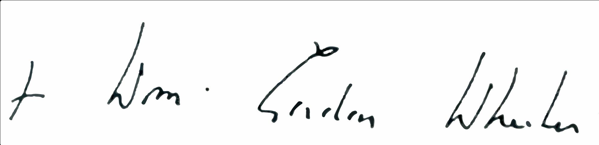 Bishop Wheeler's Signatue