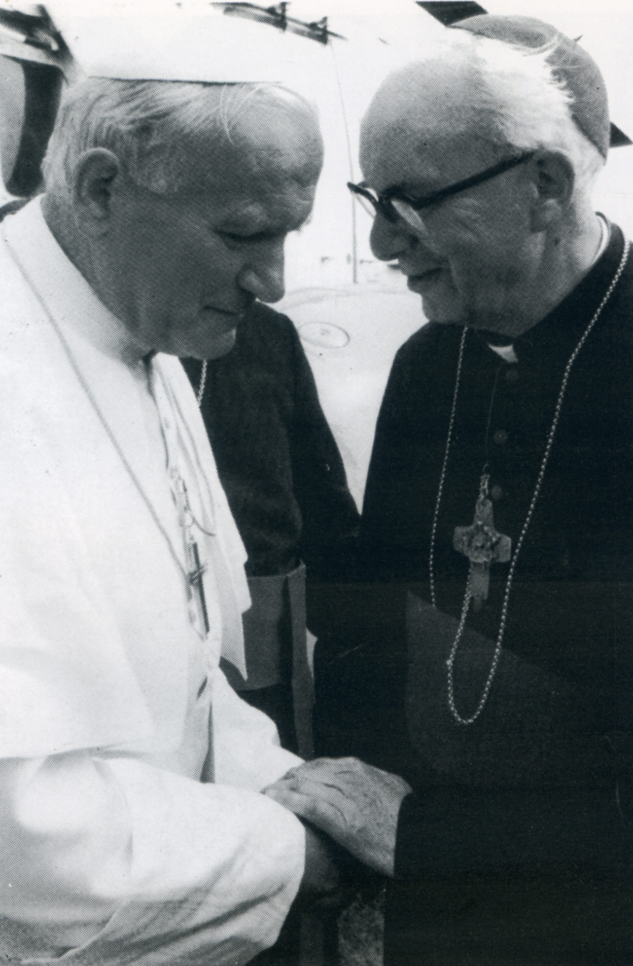 Bishop Wheeler greeting His Holiness Pope John Paul II on his arrival at the Knavesmire, York May 31 1982
