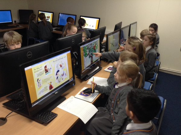 Using the large, bright and colourful touch screens to find apostrophes