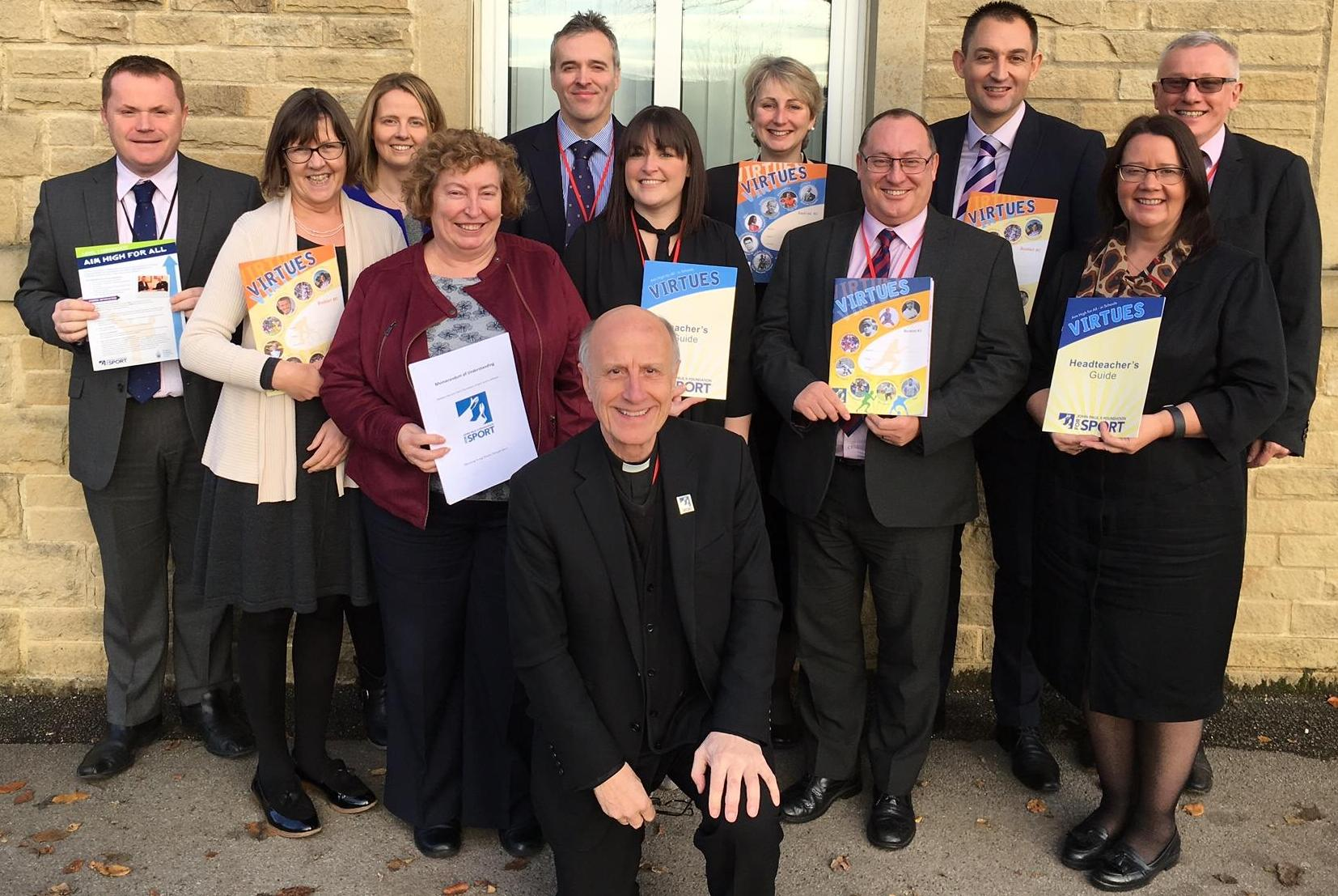 Photo: Fr Vladimir Felzmann, JP2F4S CEO with school leaders from across our Trust, at the launch of the Aim High For All programme at St Stephen's, Skipton