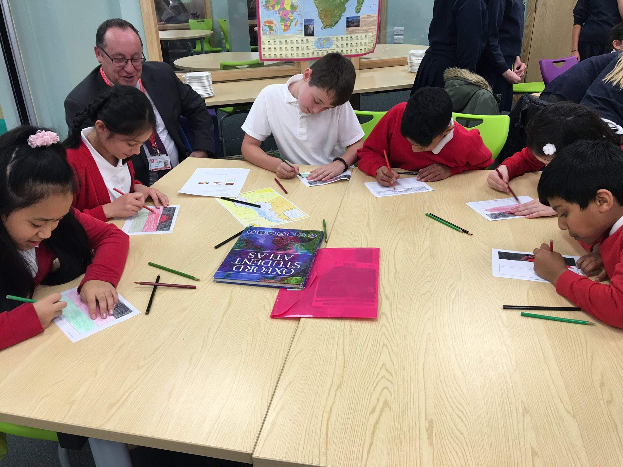 Photo: Mr Pye and students at the the Global Learning event