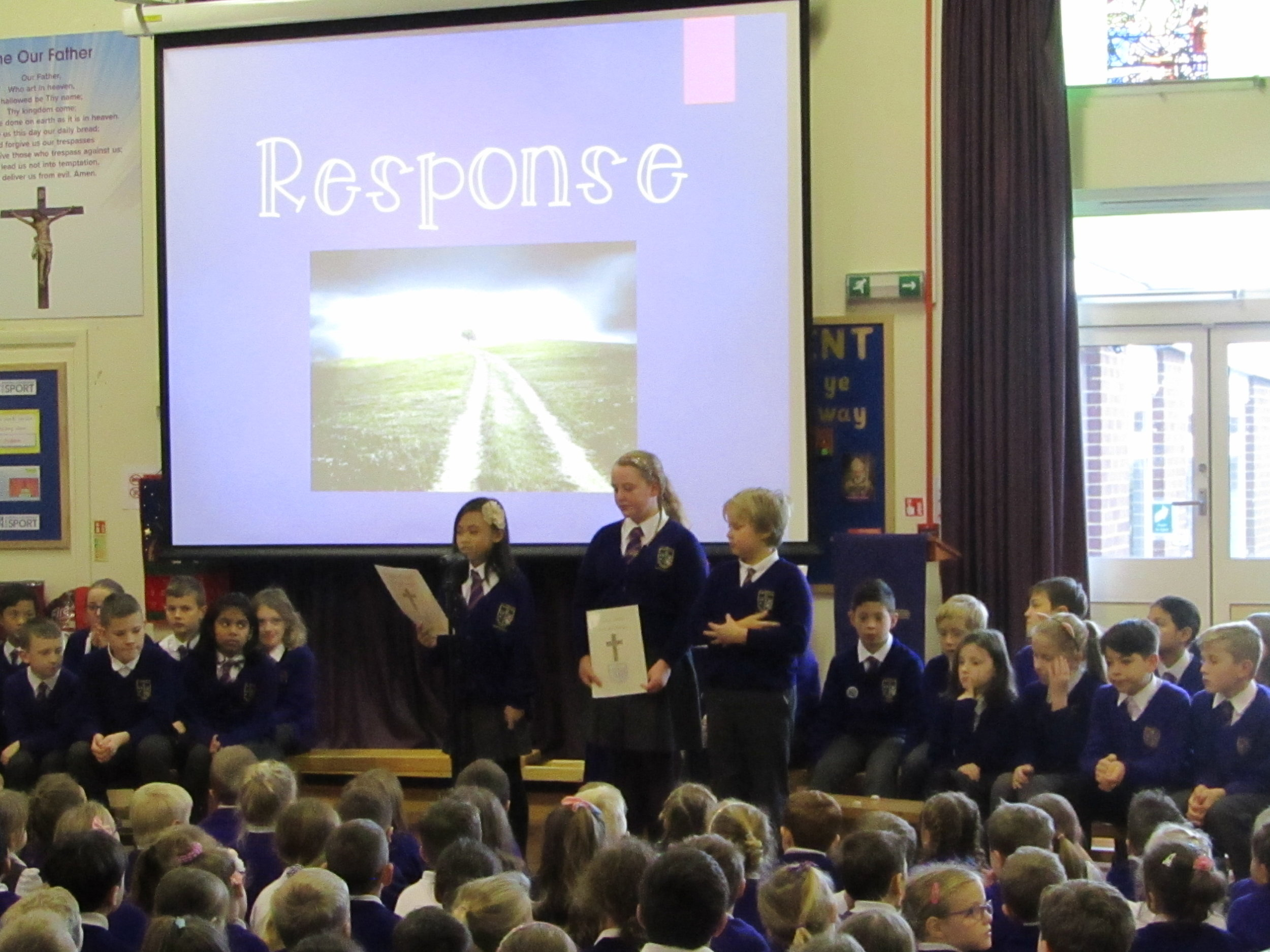 Year 5 led a reverent collective worship, encouraging the whole school to live out our mission of peace - to say sorry and to forgive others - as we make this journey to our Saviour's birth.