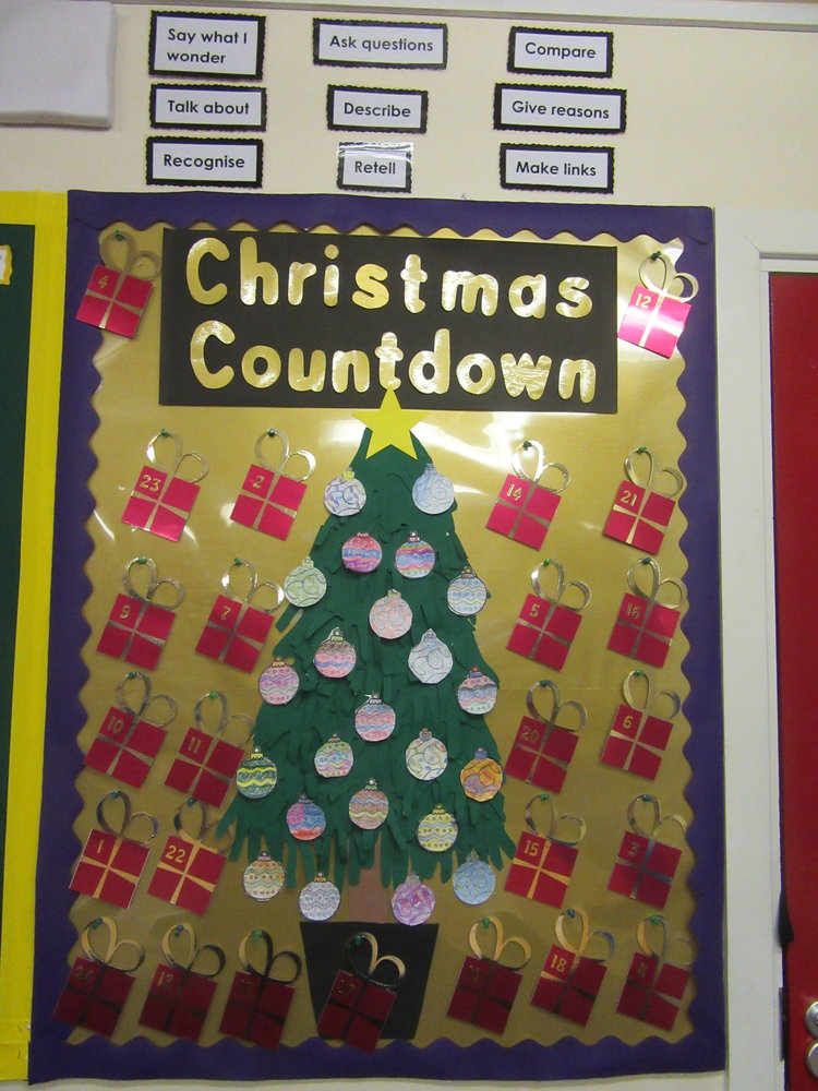 Year 2 have been busy getting our classroom ready for Christmas.  We drew around our hands and cut them out to make the tree.  Then we wrote our Advent promises on baubles, decorated them and added them to the tree.