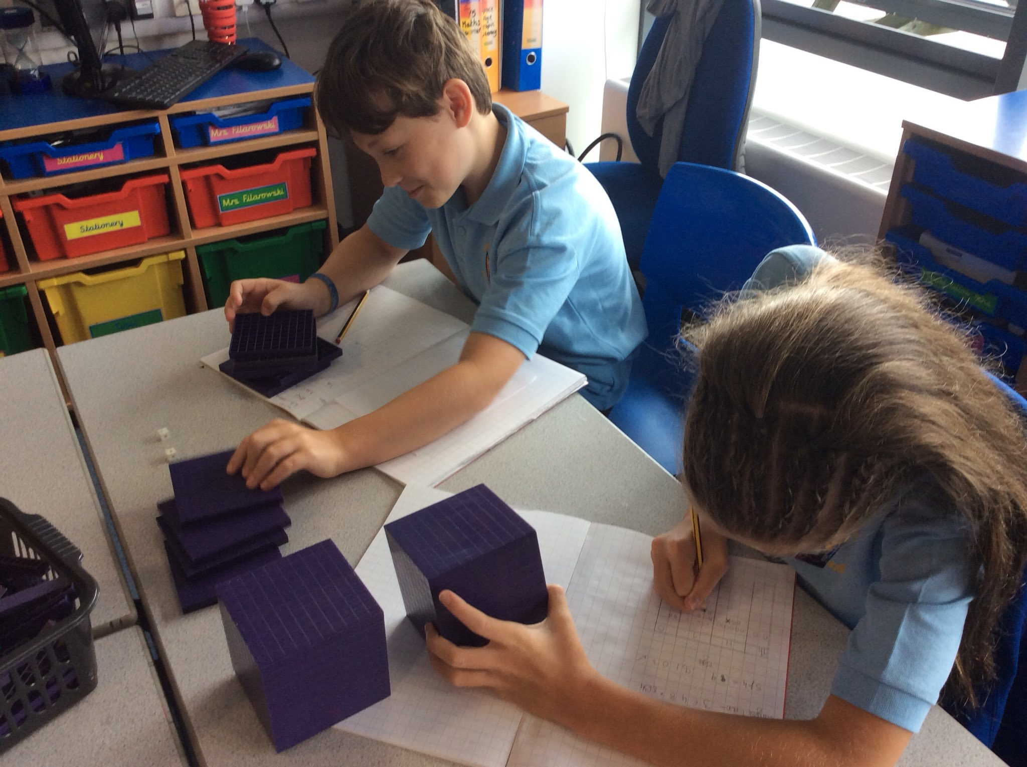 Photo: Fabulous maths work by Year 5, Ss Peter and Paul Yeadon, using base 10 and place value grids working with numbers to 10,000