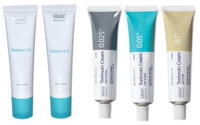 Prescription strength topical creams to reduce wrinkles and increase collagen production. Tretinoin is available in 0.025%, 0.05% and 0.1%. Retinol is available in 0.5% and 1.0%.