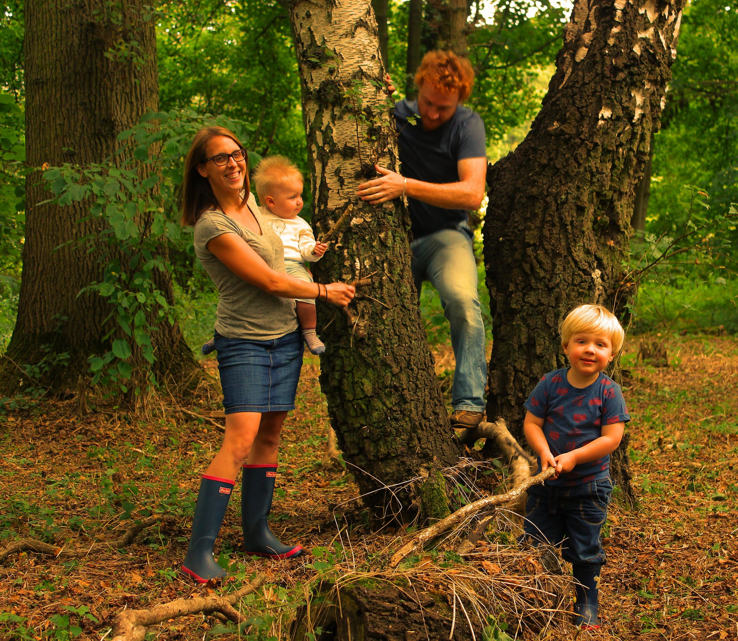 Our family portrait - Seb, Kate, Elliot and Dylan playing in the woods