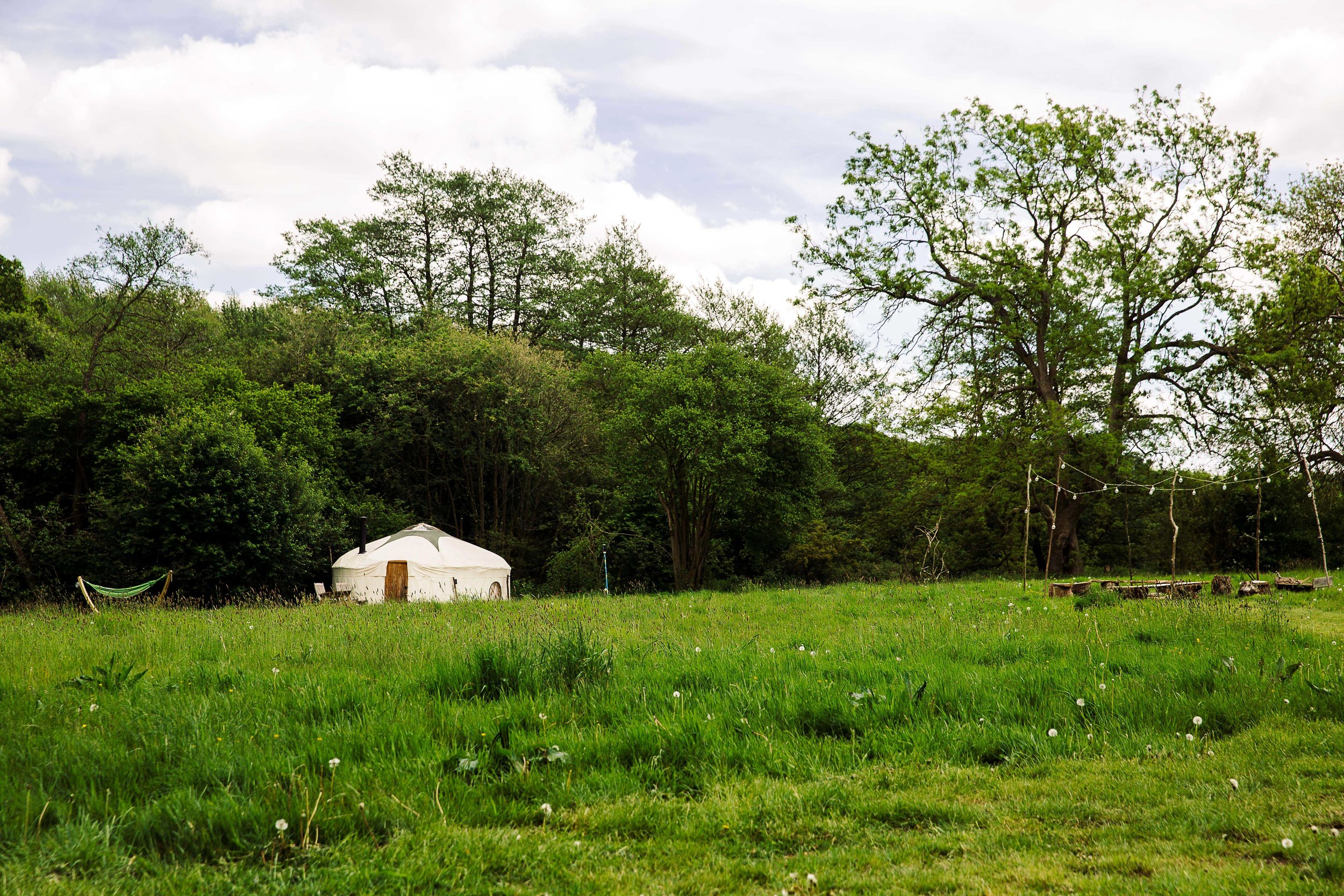 View across the spacious meadow of the campfire and Hazelnut Yurt