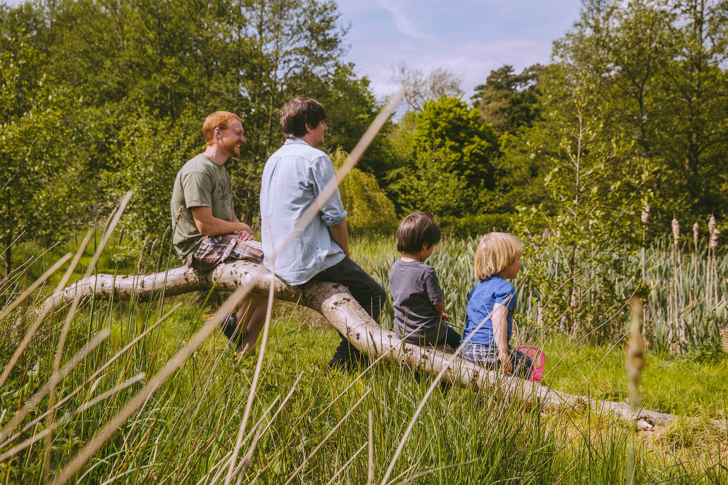 2 boys and 2 dads relaxing on a branch by the pond - family holidays