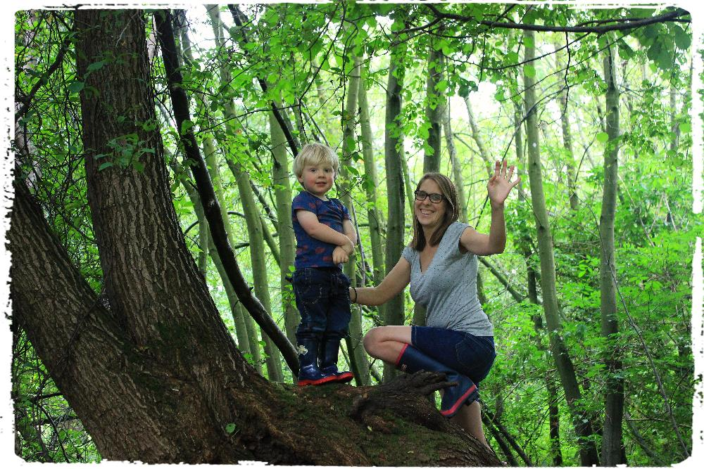 Kate & Elliot playing in woods