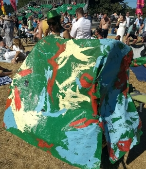 Our kids got creative on the trolley cover + me in a green sparkly cowboy hat of course!