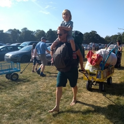 Bursting to the brim with our family festival camping kit