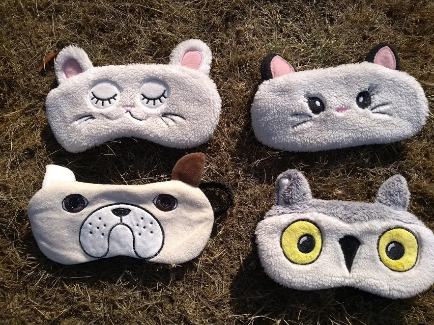 Cat and rabbit for the boys, bull dog for seb and a wise owl for me - haha! Our personalities captured in an eyemask
