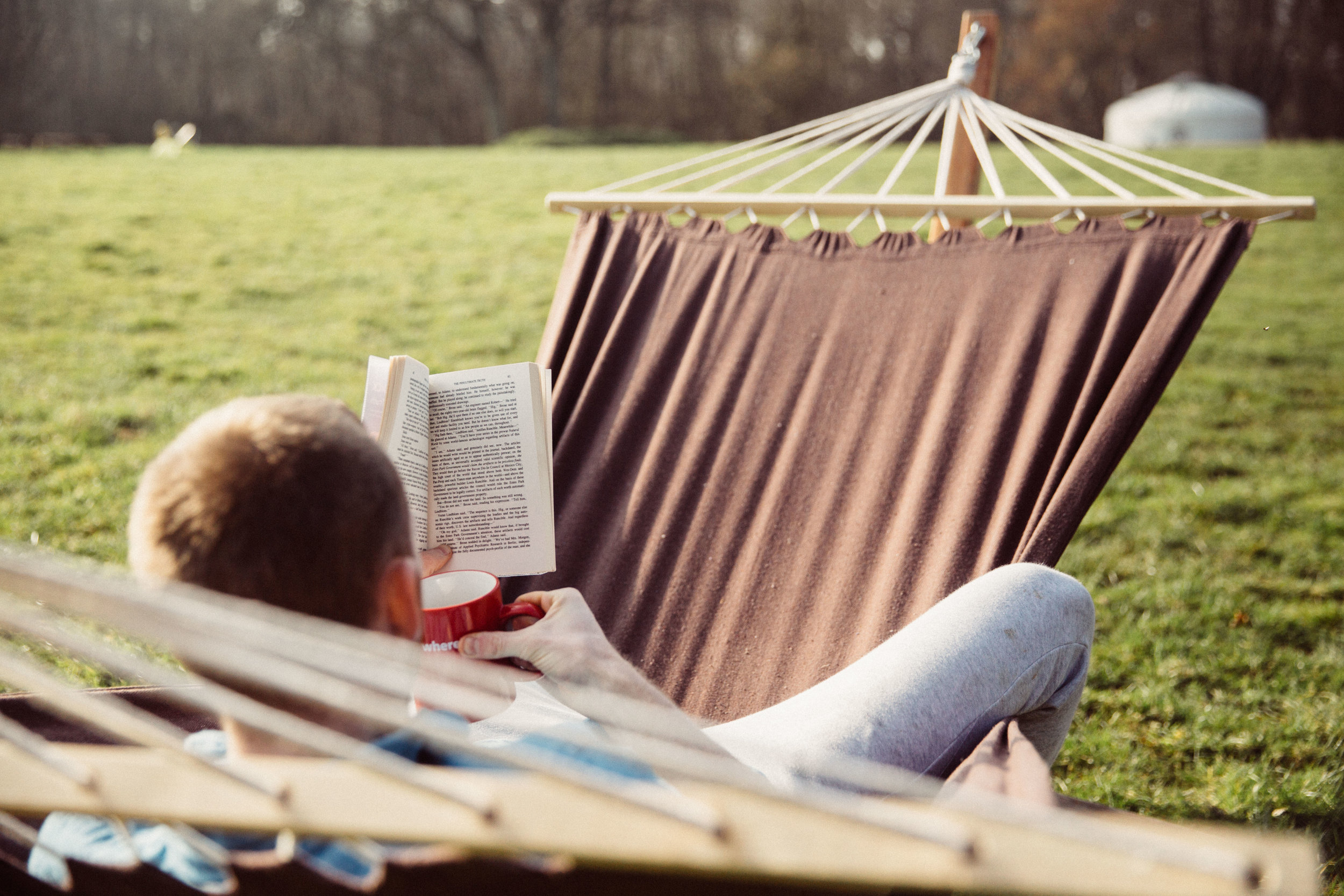 Relax in the hammock with a good book and a cup of tea