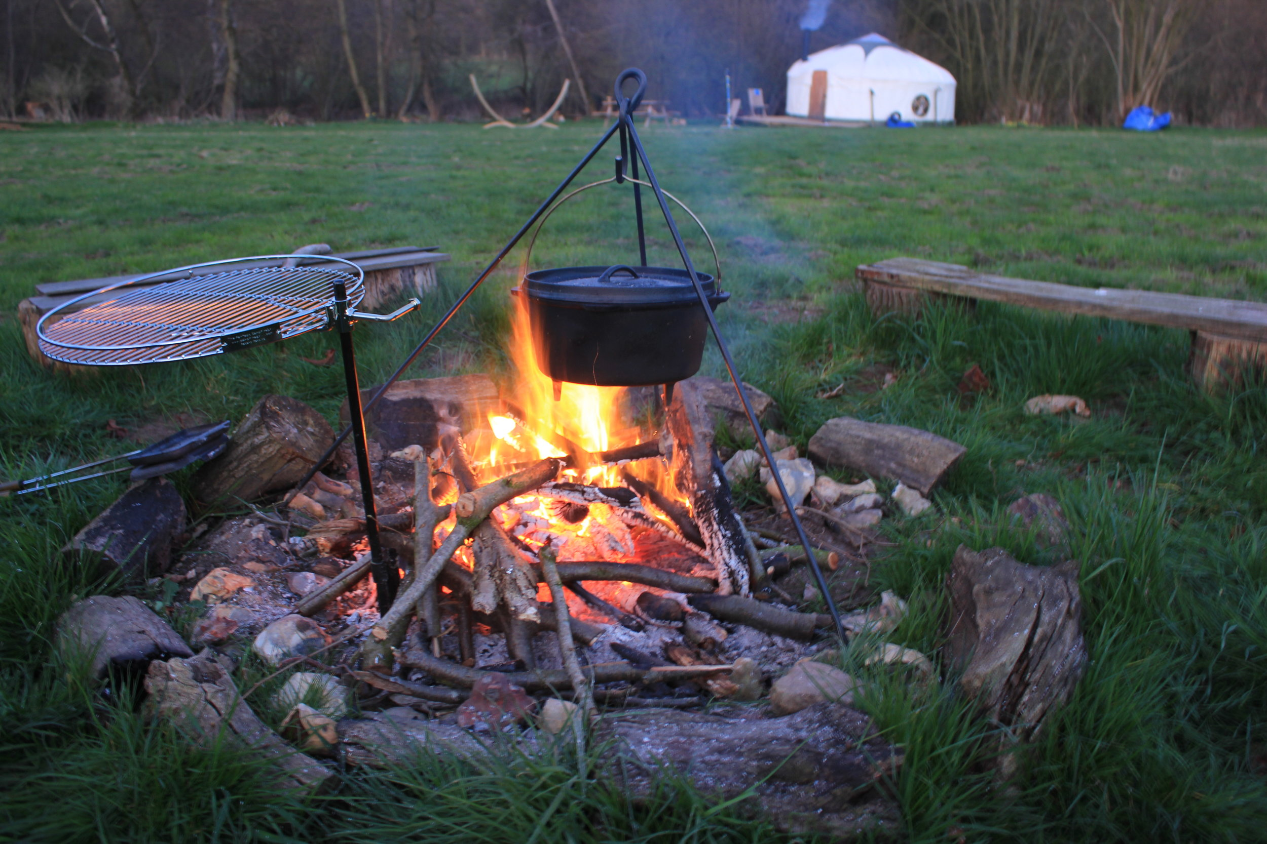 Cooking on the campfire with a dutch oven, pie iron and grill