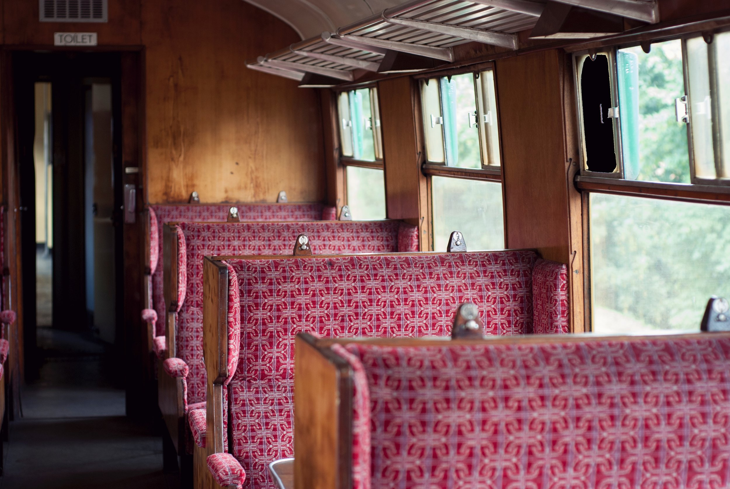 Norfolk steam train adventure, inside a carriage, rainy day