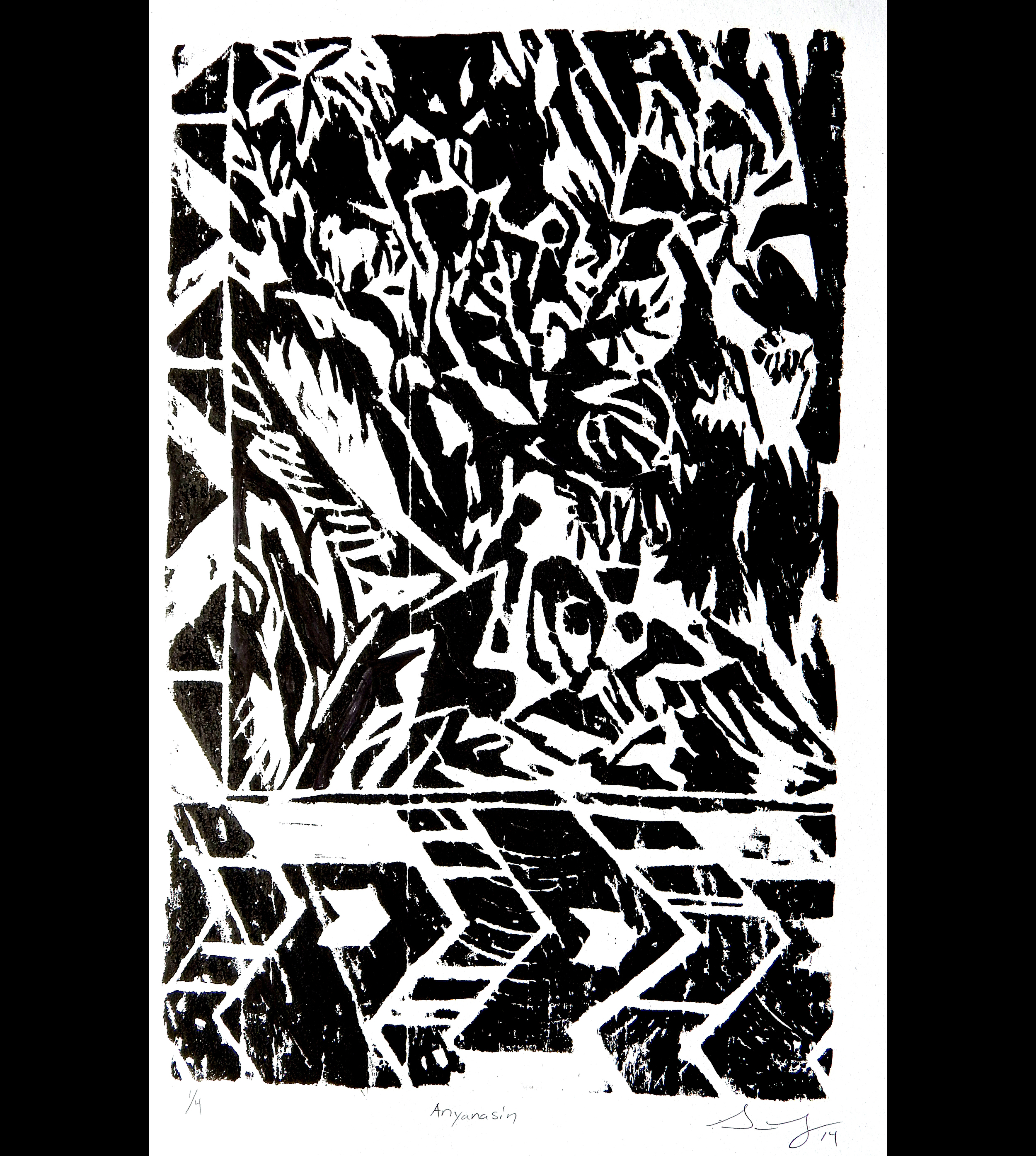 South (scene 1 of dyptic), 2014, woodcut