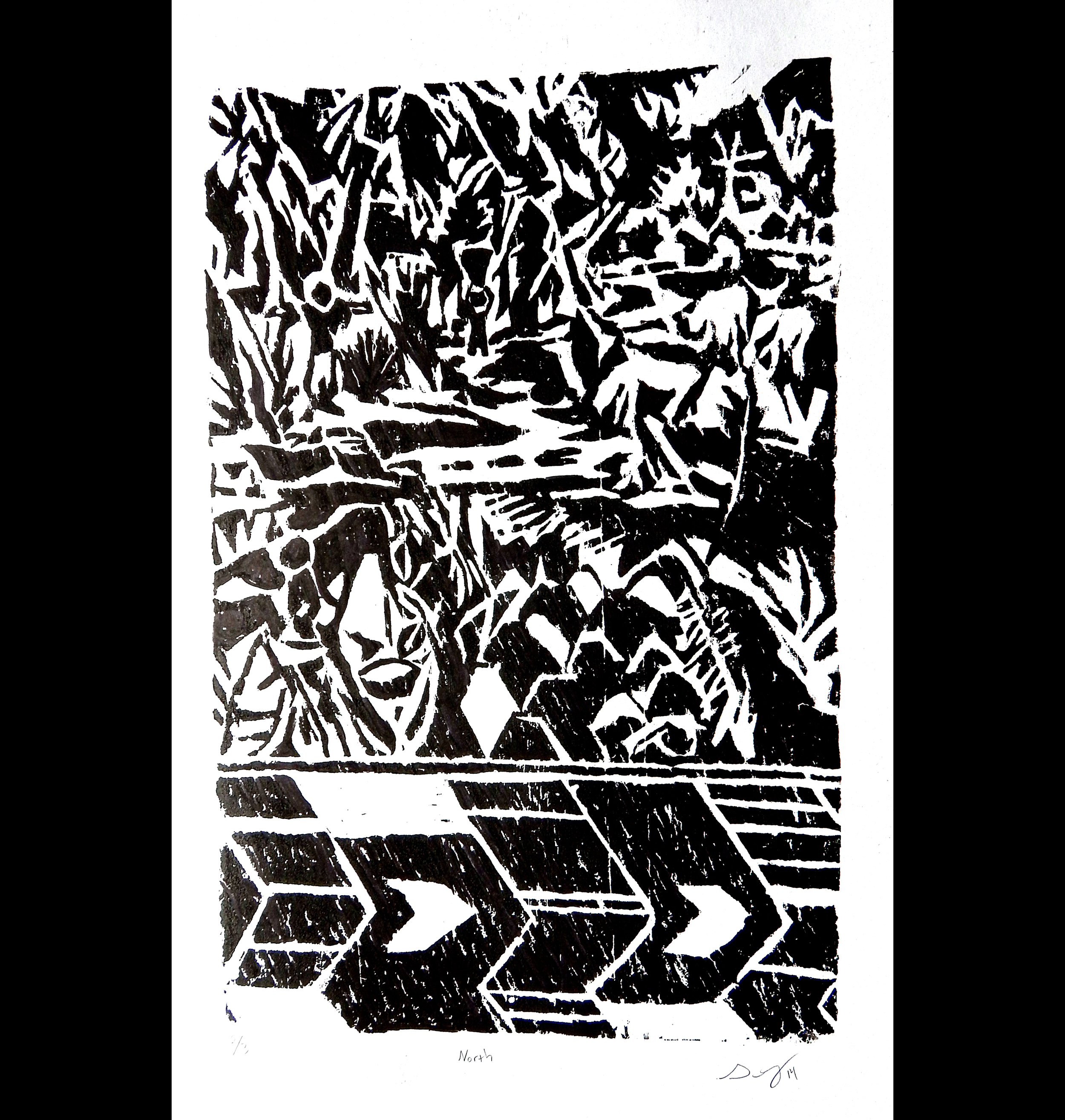 North (scene 2 of dyptic), 2014, woodcut