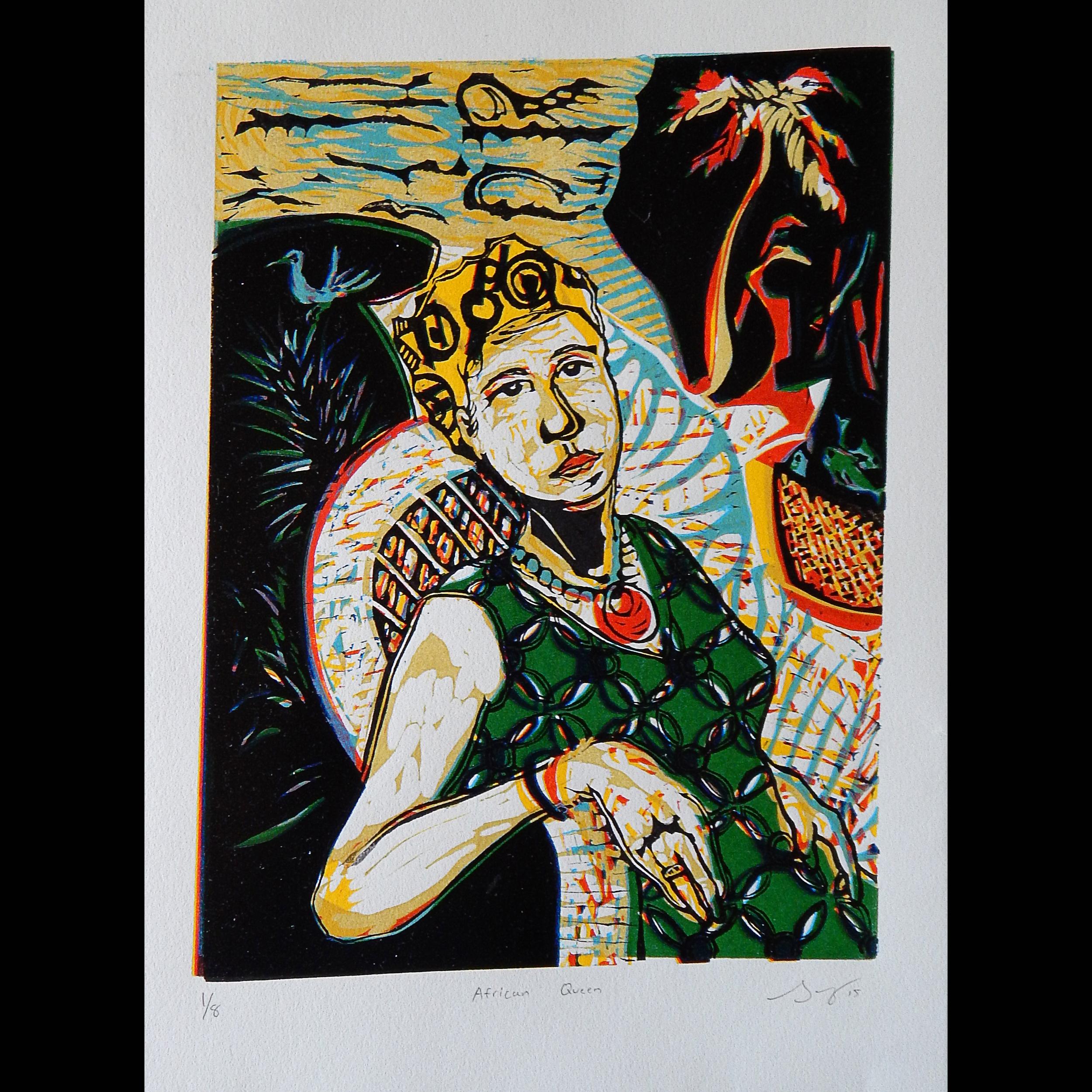 African Queen, Reduction Cut Linoleum, 9x12