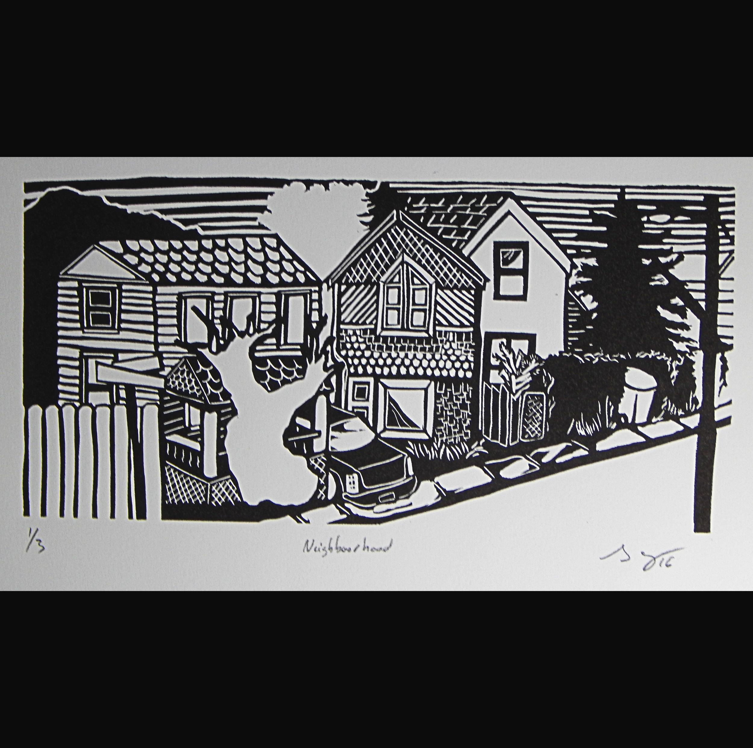 Neighborhood, lino cut, 2016, 4x9in
