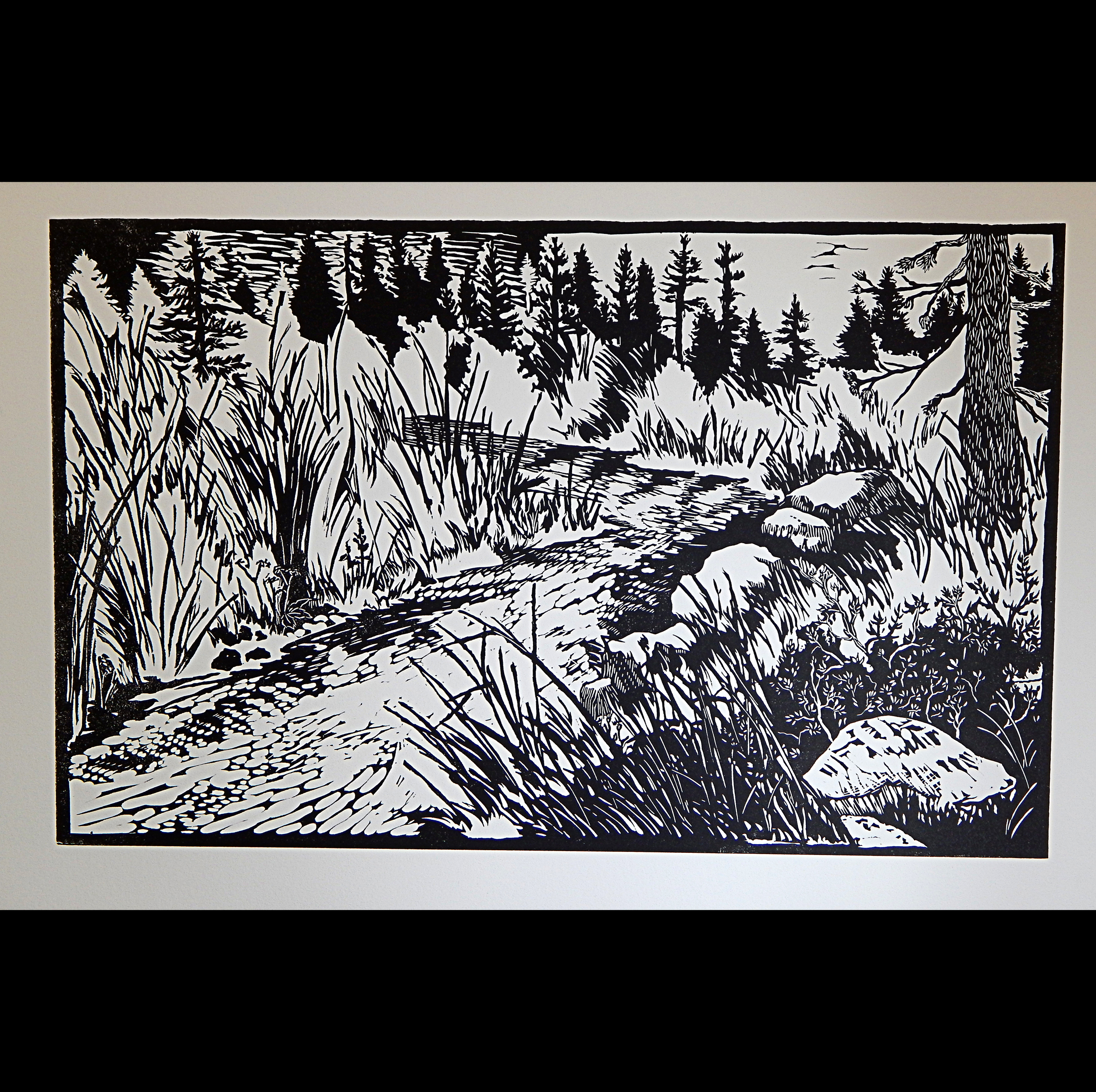 Little Blackfoot, Lino cut, 2016, 17x32in