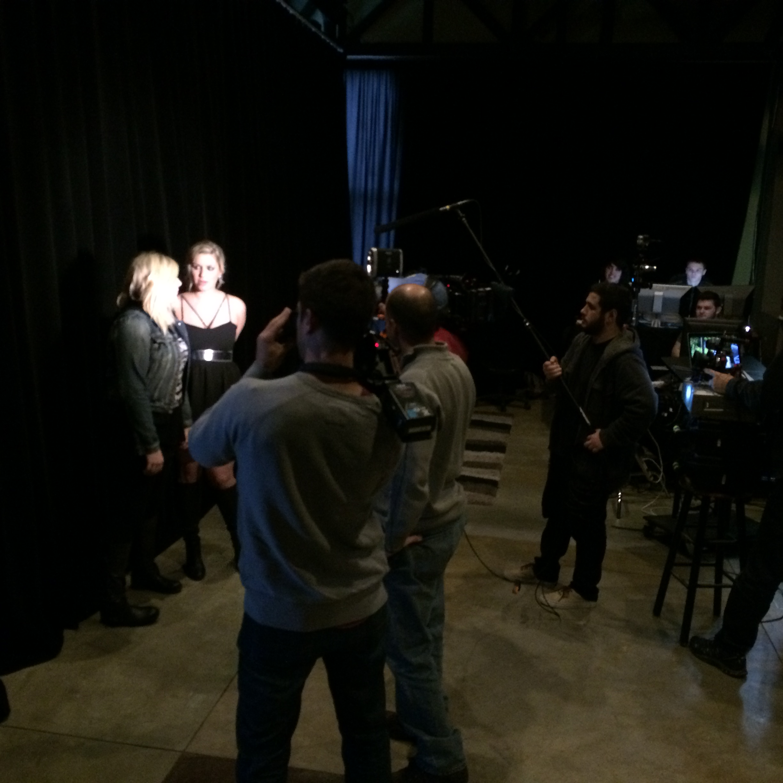 Interviews in-between faux video shooting...