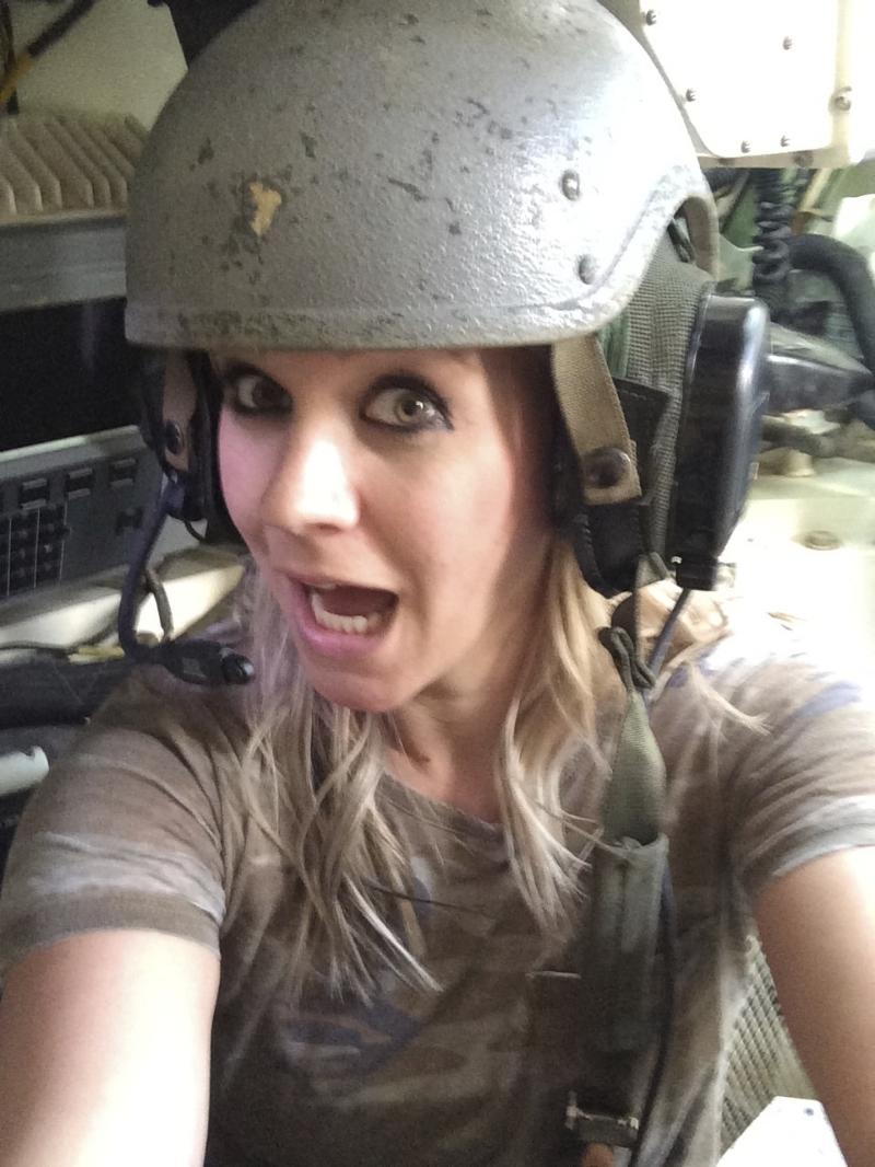 Selfie in a tank.