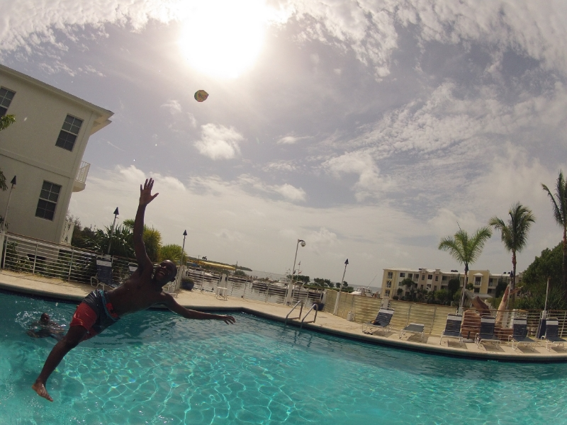 """Who else loves the game """"throw the ball in the air as someone jumps in the water they have to catch it"""" game?"""