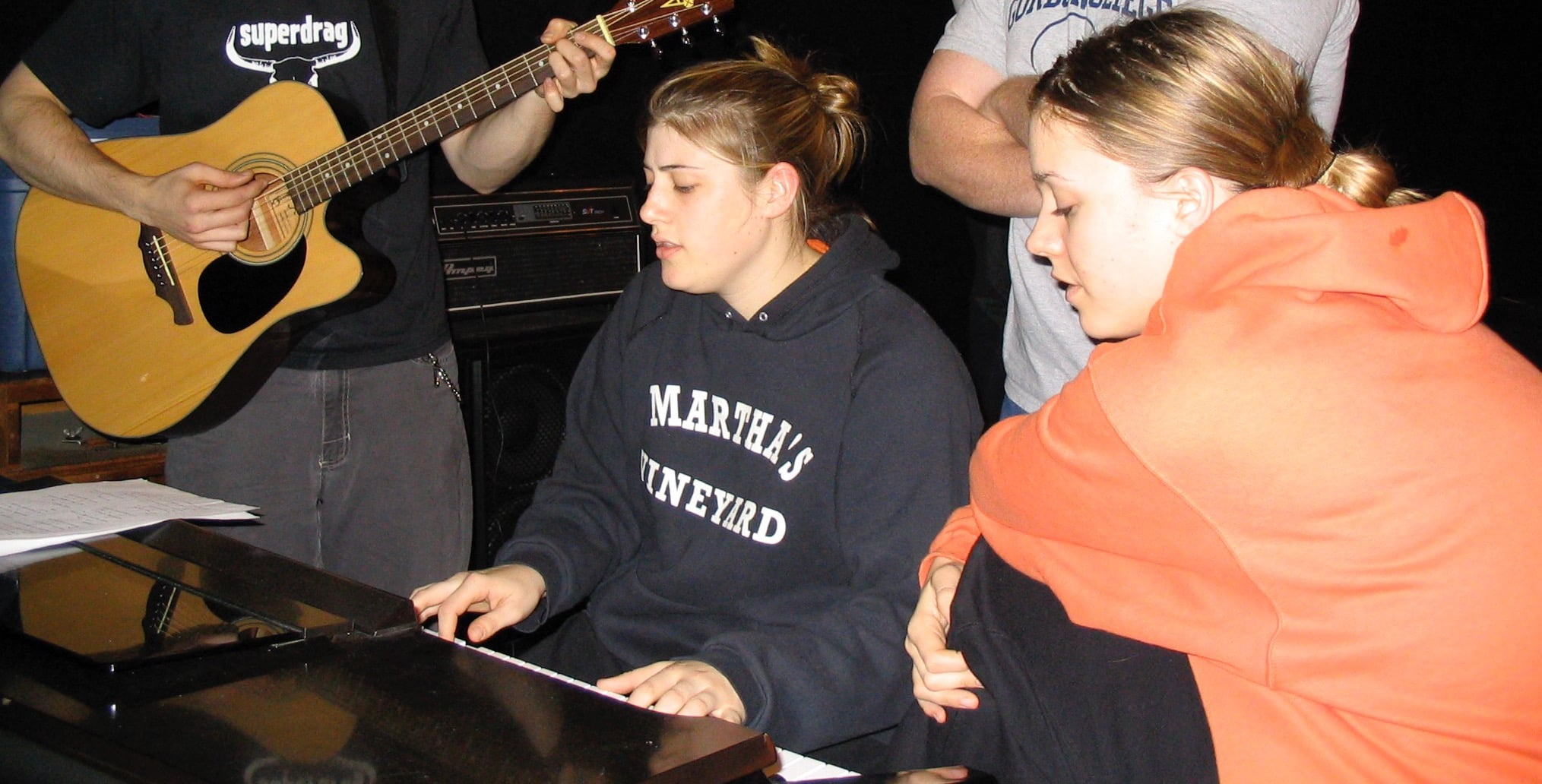 One of our oldest pics together...please note Jill's MV hoodie :) We're thinking this MUST HAVE BEEN a middle of the night rehearsal because we look SOOOOOO tired!