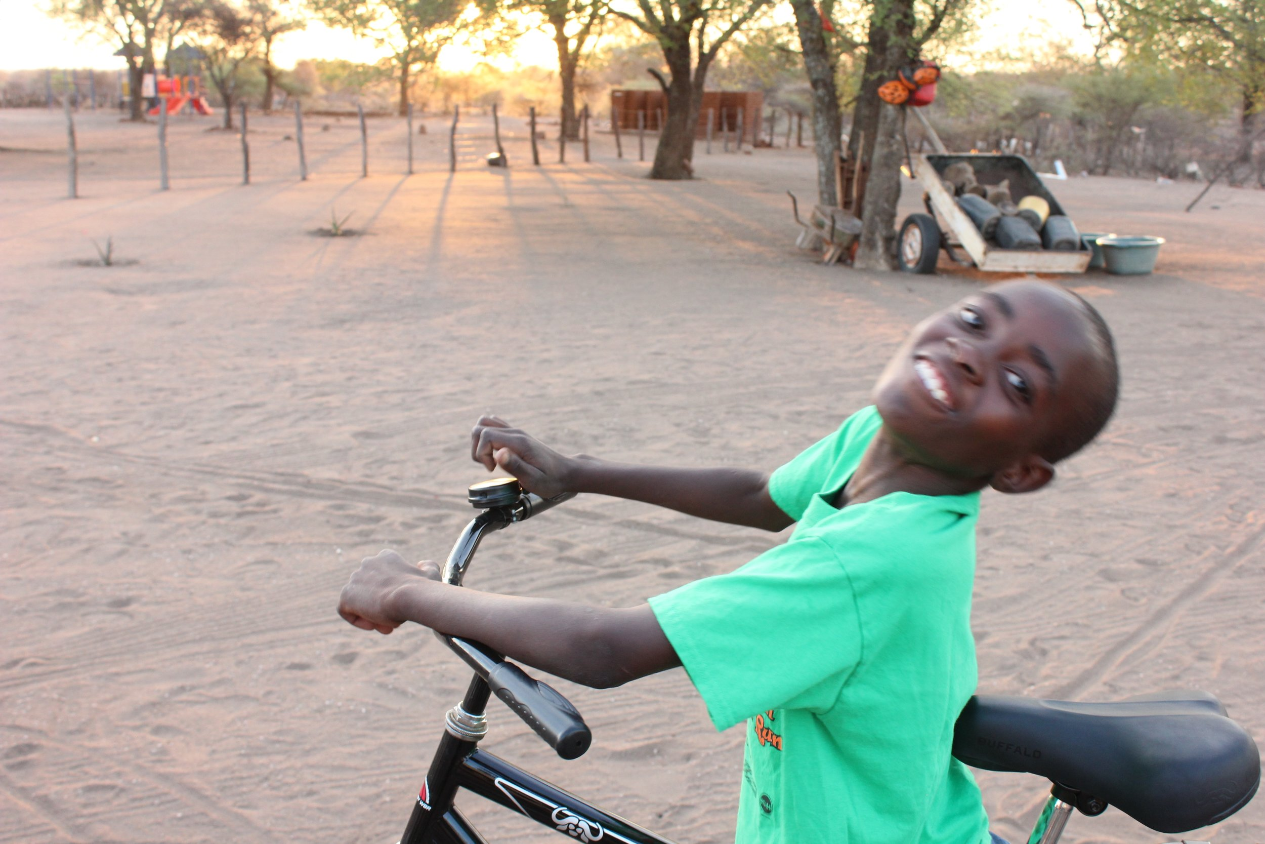 Tsepo on his new bike!