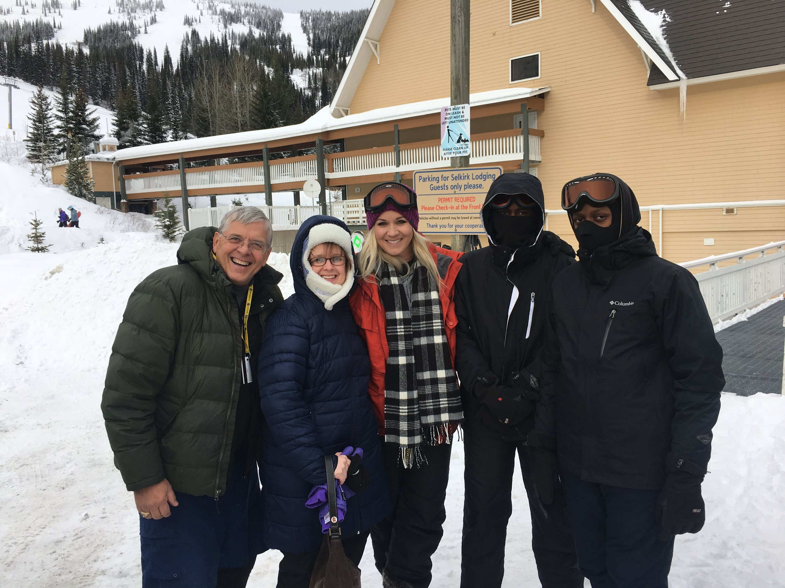 Skiing with most of the family...