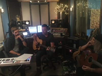 Working on a song. That's Luke in the middle and  Seth Earnest  who co-produced these songs with Luke. He is a GEM. So creative. So humble.