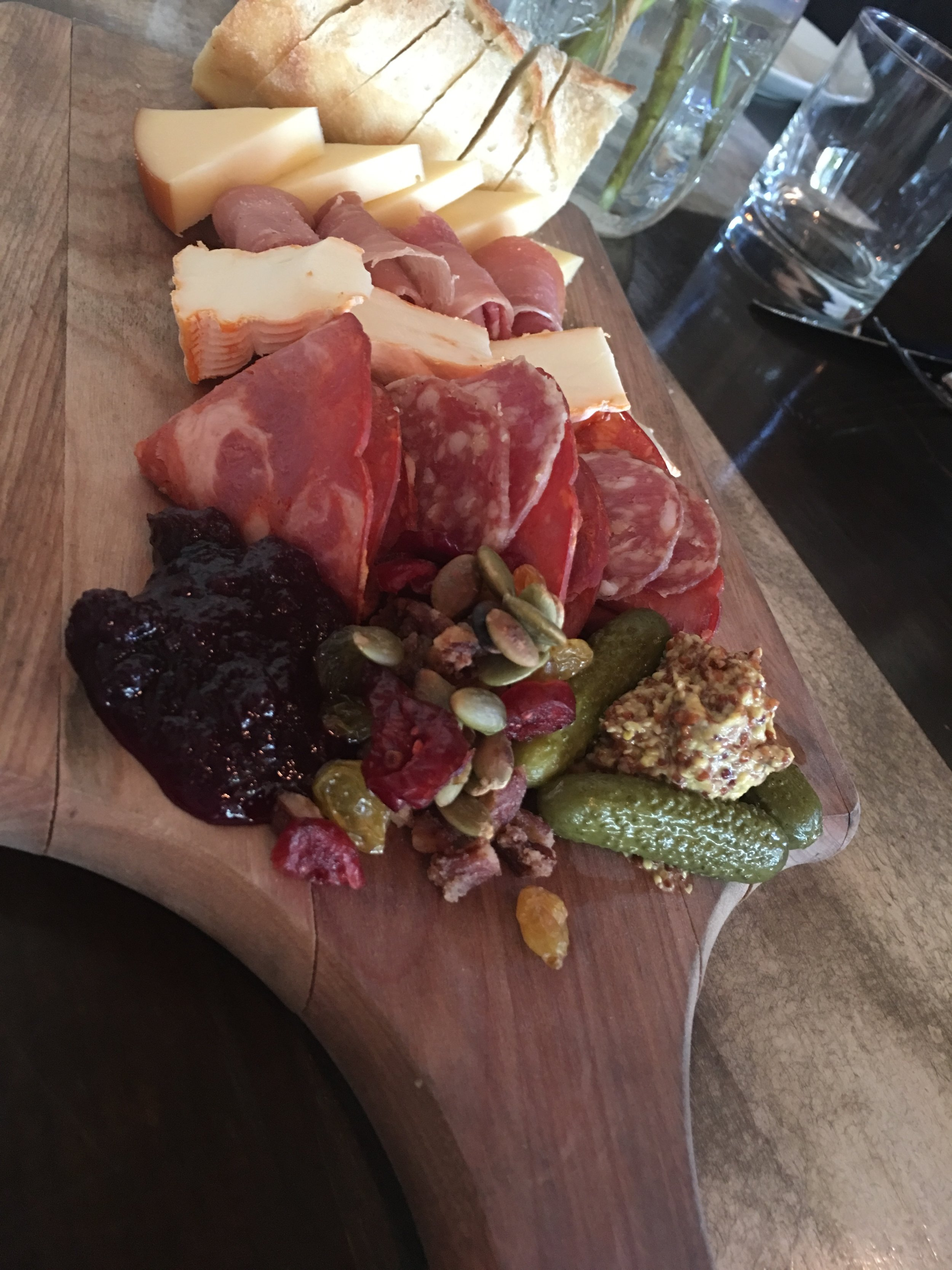 The Charcuterie board at a cozy little restaurant in Denver. We'll call this one the  Mile-High Cheese Plate.