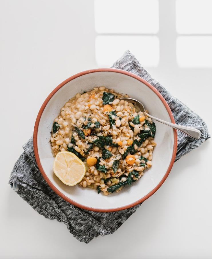 Hearty Kale, Navy Bean, & Farro Soup W/ Lemon & Black Pepper -