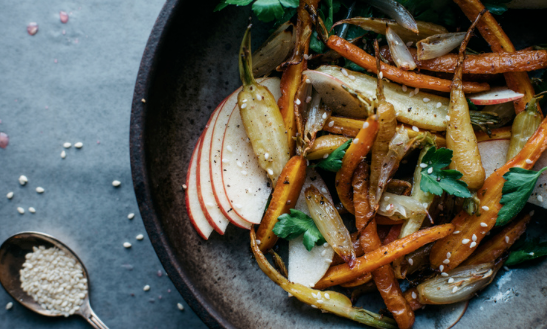 FENNEL-ROASTED CARROT + SHALLOT SALAD W/ SHAVED APPLE -