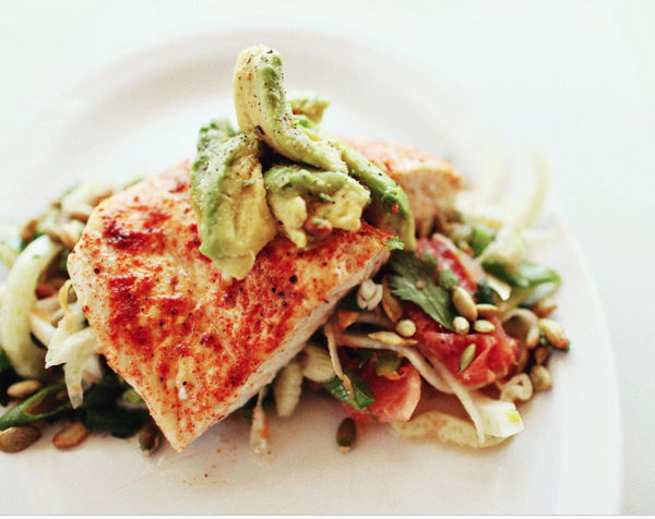Spiced Halibut On Grapefruit Fennel Slaw -
