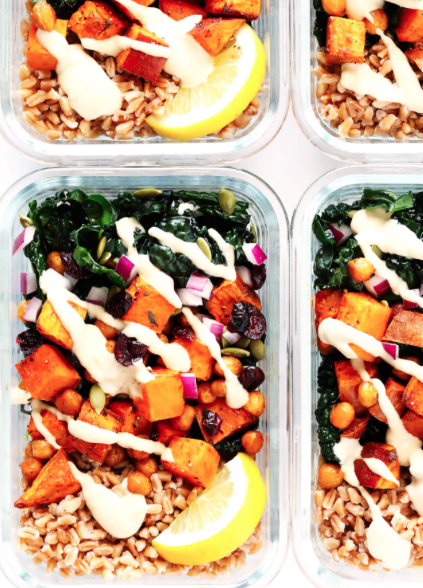 Roasted Sweet Potato, chickpea and kale salad bowl -