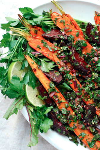Roasted Beet and Carrot Salad with Beet Green Salsa Verde -