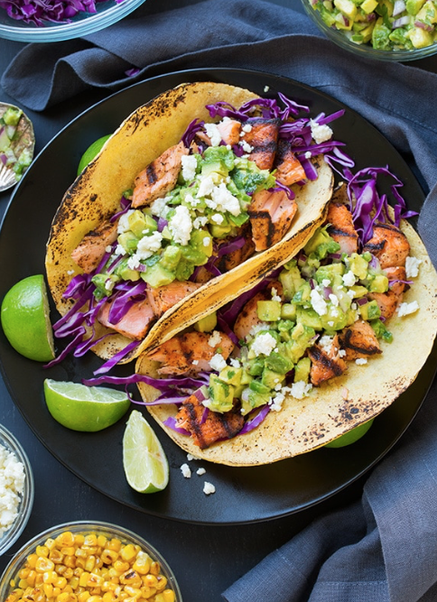 Grilled Salmon Tacos with Avocado Salsa and Cabbage -