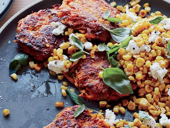 Sweet Potato Cakes with Yellow Corn, Basil and Goat Cheese -