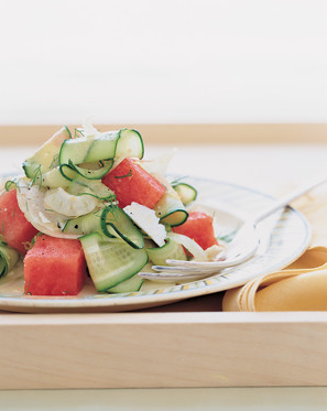 shaved cucumber, watermelon & fennel salad -