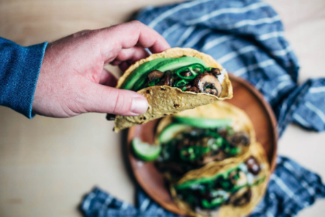 Vegan Kale Mushroom Tacos -