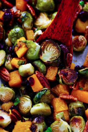 MAPLE ROASTED BRUSSELS AND BUTTERNUT SQUASH